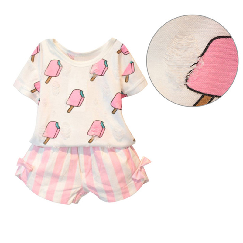 2Pcs/Set Summer Kids Girls Cute Ice Cream Pattern Short-sleeved T-shirt +Striped Bow Short Suit for 1-6Years Children