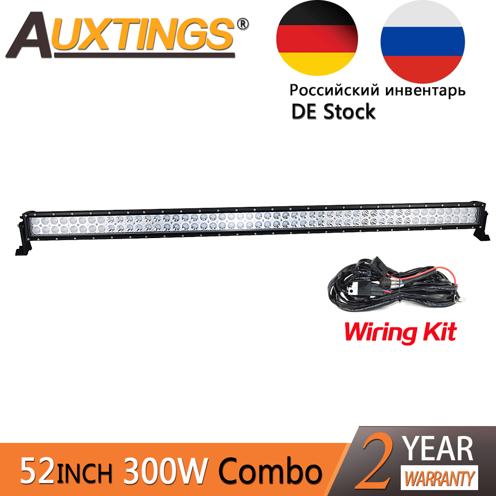 Auxtings 52 inch 52'' 300w led light bar offroad work light 4x4 combo beam 30000lms 4x4 car driving lights wiring kit 12v 24V