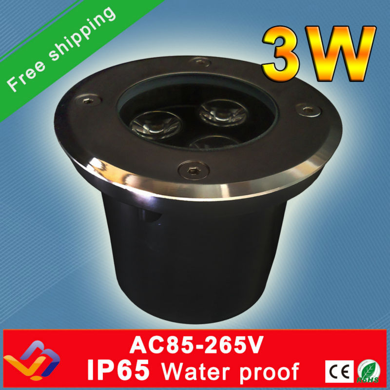 Free Shipping 10pc Lot Factory Direct Sale 3 1W LED Underground Light IP65 Buried Recessed