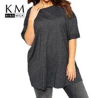 Kissmilk Plus Size Women Clothing Casual Solid Loose Top Tees O-Neck Slim Basic T-shirt Oversized Short Sleeve Big Size Shirt