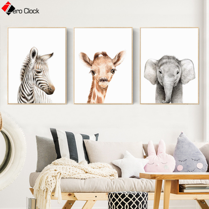Elephant Zebra Giraffe Canvas Painting