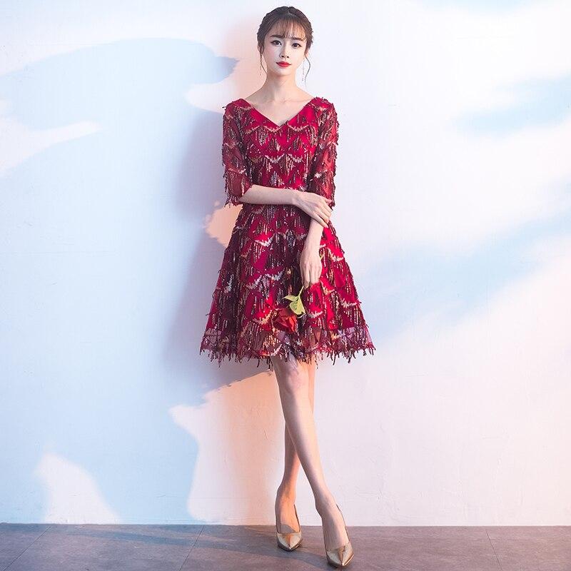 Robes De bal élégant 2019 nouveauté a-ligne demi manches gland bordeaux robes De soirée courtes Vestido De Gala LF220