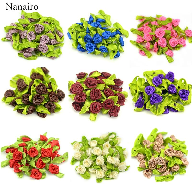 10//50//100Pcs Big Satin Ribbon Flowers Bows Craft Wedding Decoration ornament