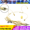 Beige Screw Thread Lock 3.5 mm Stereo Plug Head Worn Double Earhook Headset Microphone Head-Mounted Mike For Wireless BodyPack