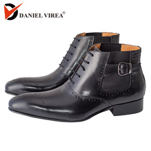 Chelsea Ankle Brogues Buckle Pointed Toe Lace Up Elastic Band  Boots