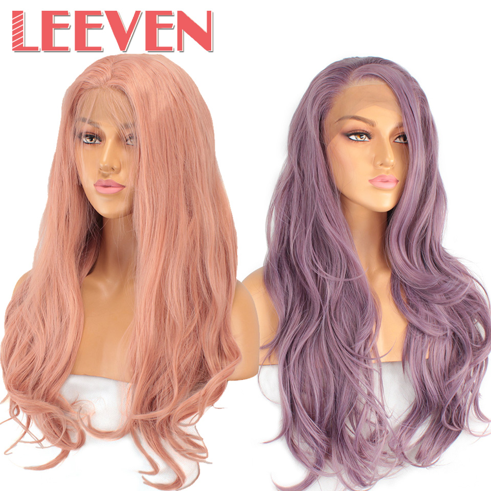 "Leeven 24"" Orange Pink Purple Synthetic Lace Front Wig Long Natural Wavy Wigs Woman's Wig perruque Female Hair Free Shipping"