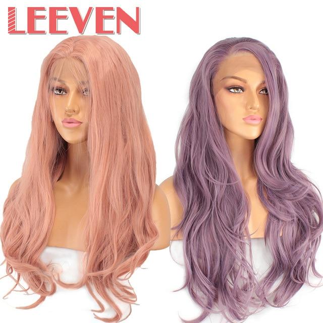 Leeven 24 ''naranja rosa púrpura sintético encaje peluca larga Natural ondulado pelucas mujer peluca perruque pelo femenino envío Gratis