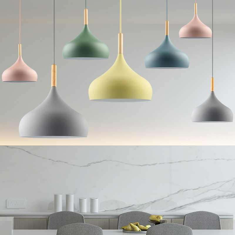Pendant Light lamp Creative Restaurant lampshade Living Dinning Room Bar Coffee Shop Modern Hanging Lighting Colorful Macaron