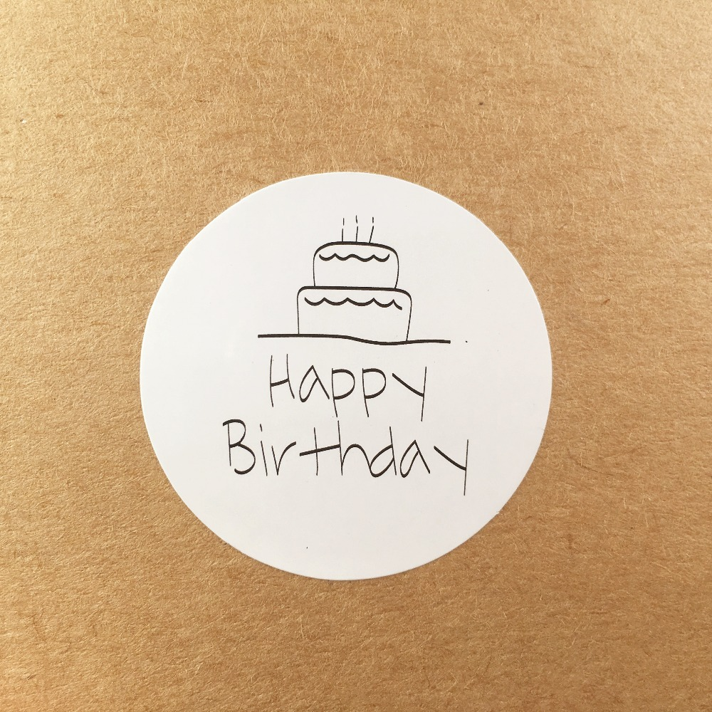 3.5cm Round 100 Pcs/lot Happy Birthday Sticker Kraft Paper Adhesive Stickers For Cake/birthday Gift Decorate