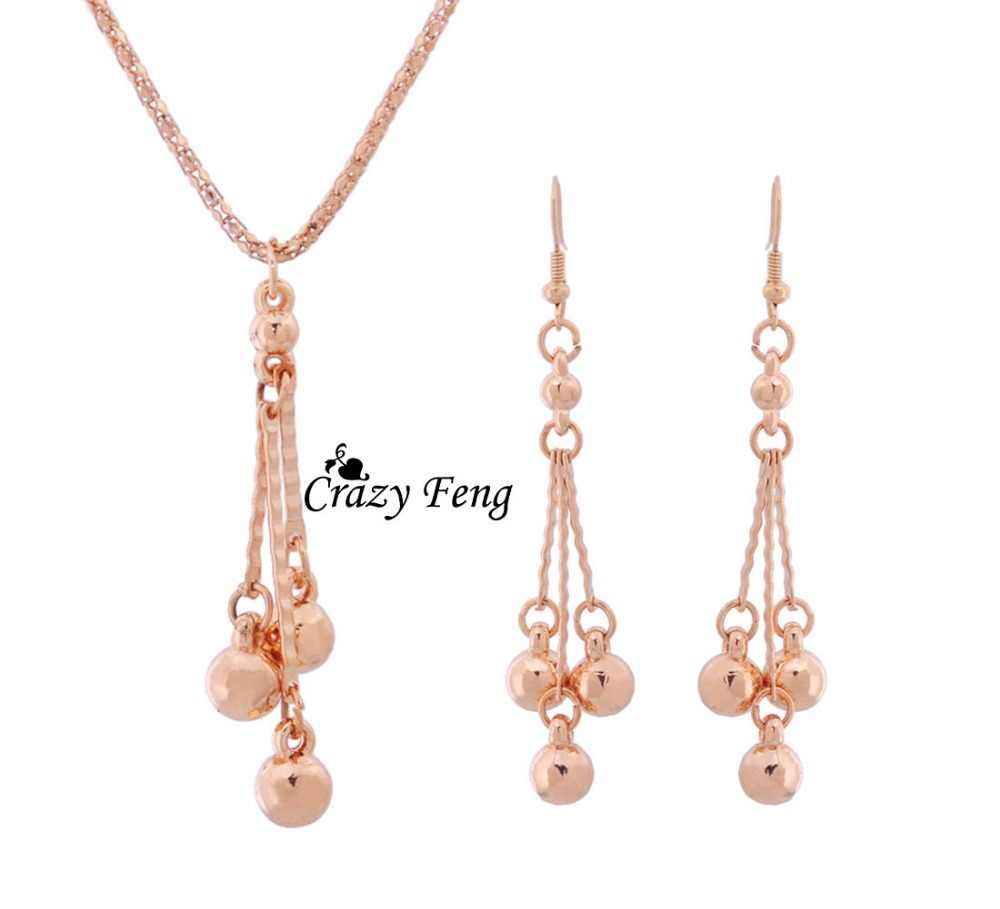 Free Shipping Gold-color Fashion Jewelry Sets Tassel Beads Pendant Necklace Earrings Set Wedding Party Accessory For Women