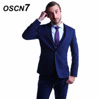 OSCN7 Navy Blue Tailor Made Suit Men Slim Fit Leisure Wedding Dress Suits For Men Plus Size Gentleman Custom Made Suit