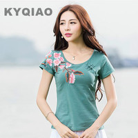 2016 M L XL 2XL 3XL 4XL Ethnic O Neck Short Sleeve Floral Leaves Patter Cotton