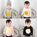 Infant Baby Girl Boys Winter Plus Velvet Blouse Smile Face Poached Egg Pattern O-neck Hoodies Cartoon Shirts Thicken Tops Of Boy