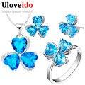 Uloveido flor nupcial da jóia do casamento define presentes para mulheres trevo colar Azul Conjunto de Jóias de Prata com Pedra Azul 49% de Desconto T289