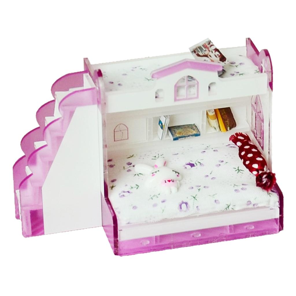 1/12 Das Crianças Em Miniatura Dollhouse Mobília do Quarto de Cama de Beliche Beliche Crianças Pretend Play Toy #2