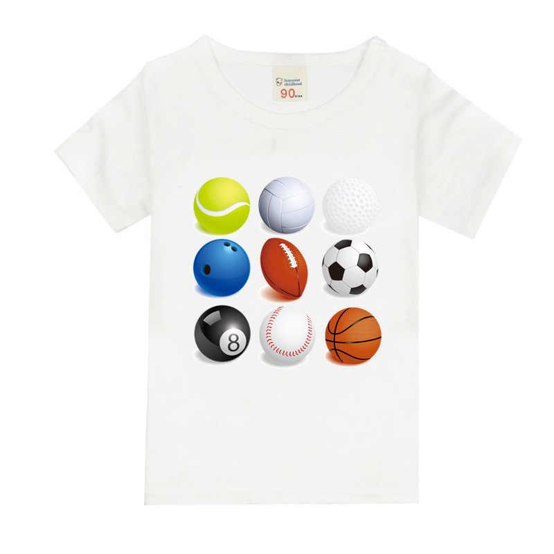 ea4370be Мальчиков короткий рукав футболки для детей Футбол Баскетбол футболка  хлопок От 1 до 8 лет Детская