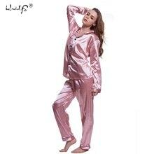 Plus Size 5XL Pajamas sets 2018 Women Homewear Sexy Underwear Pyjamas Silk Satin Long Sleeve Femme