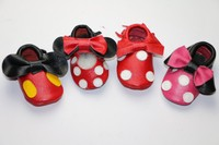 New Genuine Leather Mickey And Minnie Toddler Baby Moccasins Tassel And Bow Baby Shoes Hot Sales