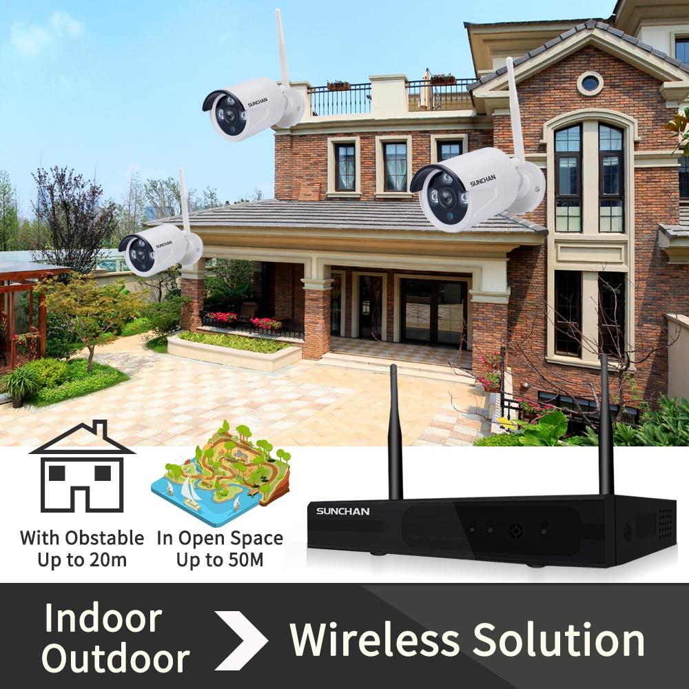 SUNCHAN 8Channel 1080P(1920x1080) HD Wireless Video Security System1080P 6PCS 2.0MP Wireless Waterproof Bullet Array LED Cameras