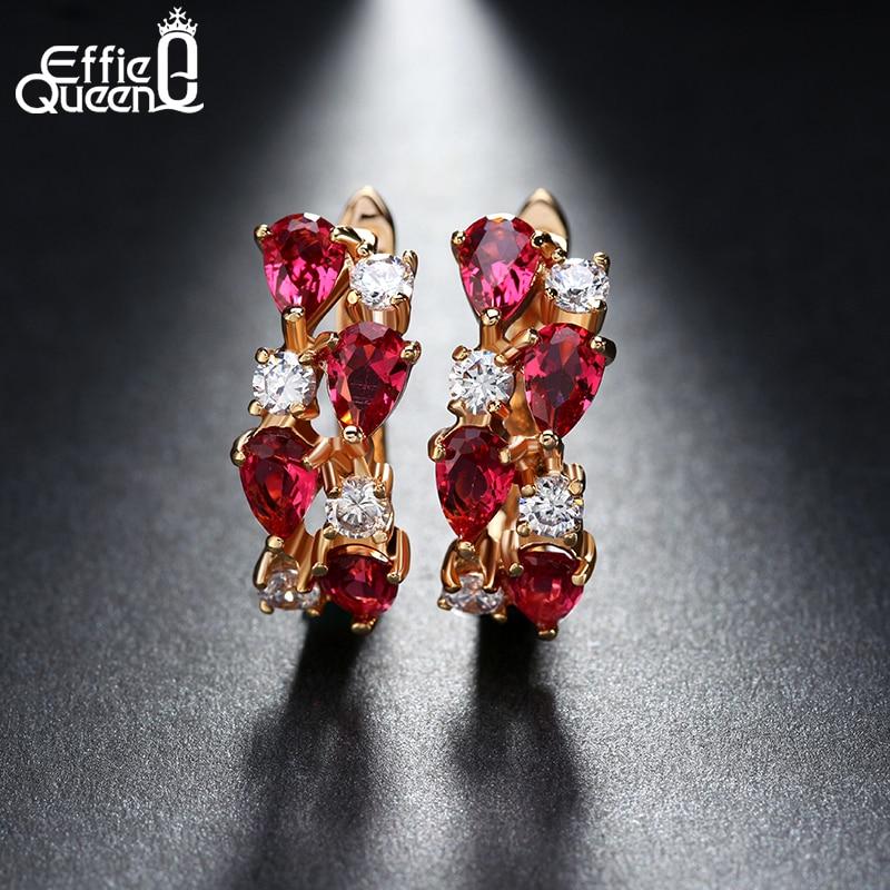 Effie Queen ыстық брендінің зергерлік бұйымдары 8 дана Қыздарға арналған қызыл AAA Австриялық циркон кілегейі Алтын түстегі сырға арналған сырғалар Қыздарға арналған сыйлық DDE18