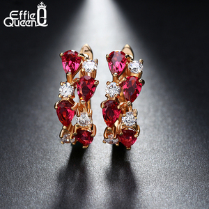 Effie Queen Hot Brand Jewelry 8 Pieces Red AAA Austrian Zircon Earring for Women Gold-color Stud Earrings for Girls Gift DDE18