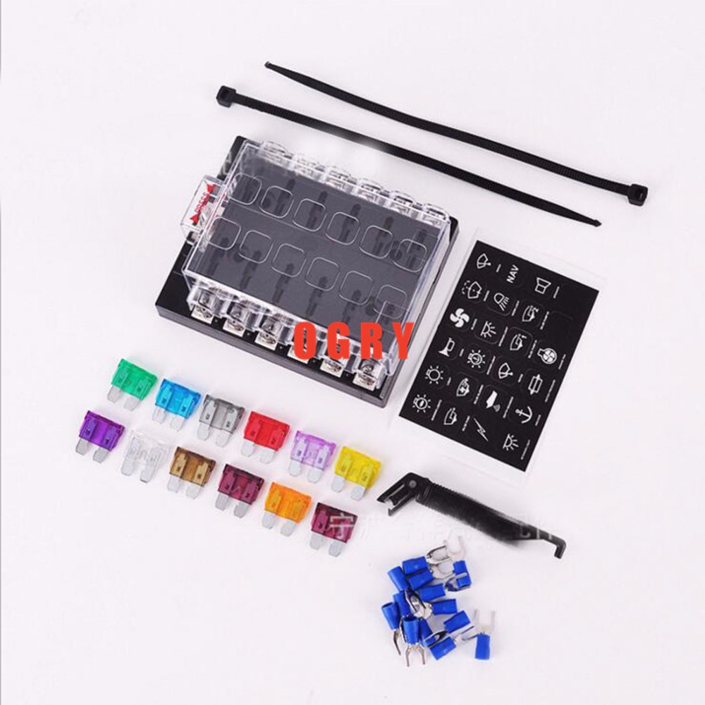 12 Way fuse set Terminals Circuit ATC ATO Car Auto Blade Fuse Box Block  Holder with 10 pcs fuse,fuse puller and 10pcs connectors