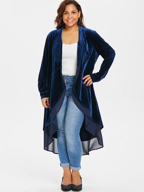 Wipalo Plus Size 5XL Open Front High Low Asymmetrical Longline Velvet Coat  Casual Solid Patchwork Flounce b43a525db