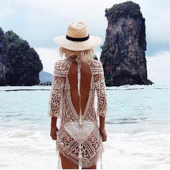 Swimwear Cover Up Women White Lace Tunic Beach Dress Clothing Backless Bathing Suit Crochet Bikini Swimming Beach Wear 1
