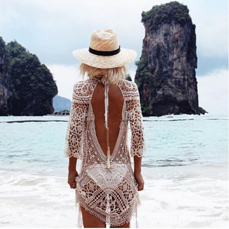 Swimwear Cover Up Women White Lace Tunic Beach Dress Clothing Backless Bathing Suit Crochet Bikini Swimming Beach Wear