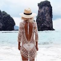 White Lace Tunic Beach Dress