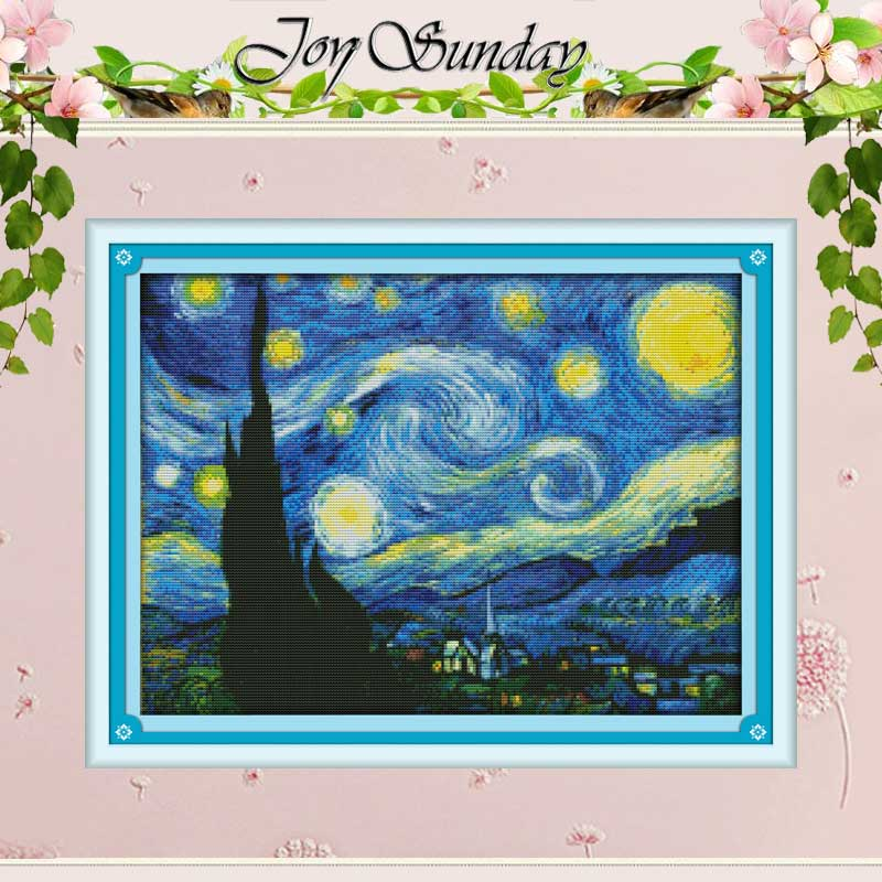 Malam Berbintang dari Van Gogh Terhitung Cross Stitch 11CT 14CT Cross Stitch Set Cina Cross-stitch Kit Bordir Menjahit