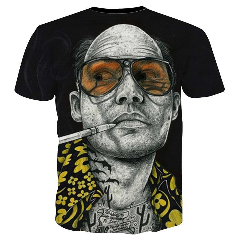 Mr.1991INC New Arrivals Tshirt Men/women Summer Tops Tees Print Glasses Smoking Star 3d T-shirt Fashion Plus 3XL 4XL