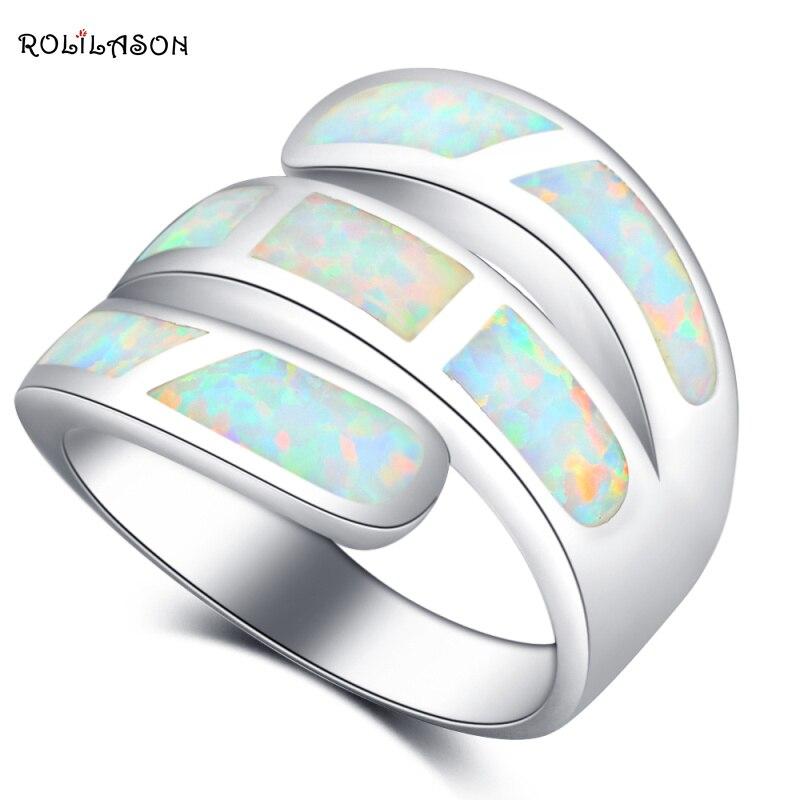 ROLILASON De Luxe Anneaux pour Femmes Élégant Blanc Opale de Feu 925 Argent De Bal Mode Bijoux Anneaux USA Taille #6 #7 #8 #9 #10 OR870