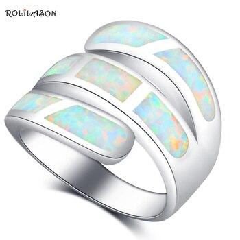 ROLILASON luksusowe pierścionki dla kobiet stylowy biały ognisty Opal srebrny moda na studniówkę biżuteria pierścionki rozmiar amerykański #6 #7 #8 #9 #10 OR870