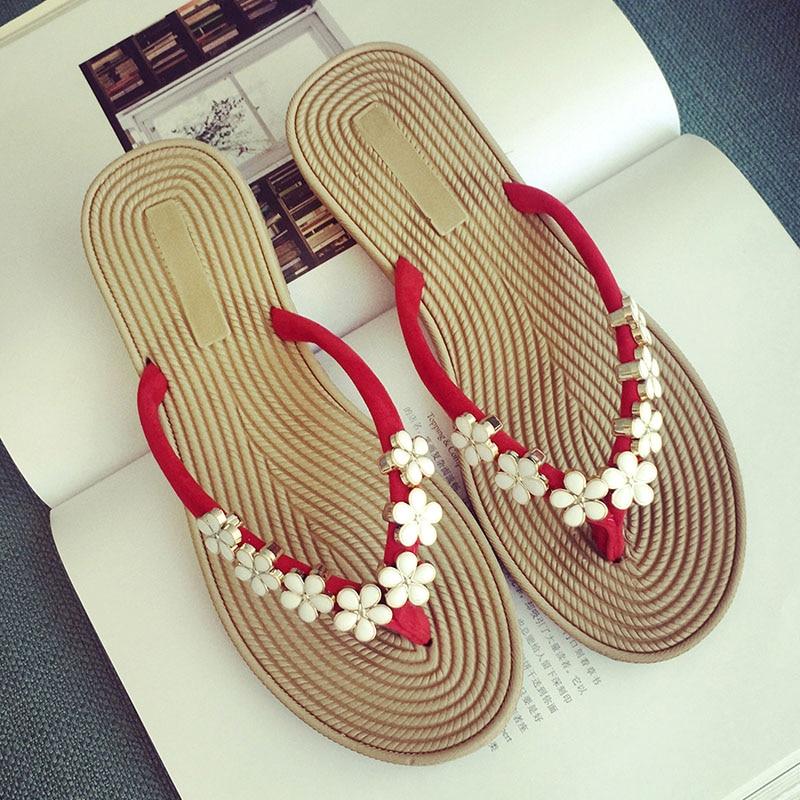 Bailehou Women Shoes Slippers Flower Fashion Designer Beach Flip Flops Ladies 2017 Summer Outside Sandals Mujer Flats Slides