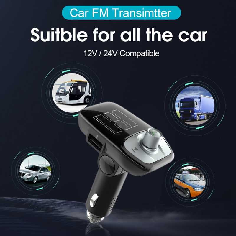 Mp3 Player Bluetooth Cigarette Lighter Charger Auto Dual Usb Charge Vehicle Hand-Free Music Car Qc 3.0 Charger 12V Socket.