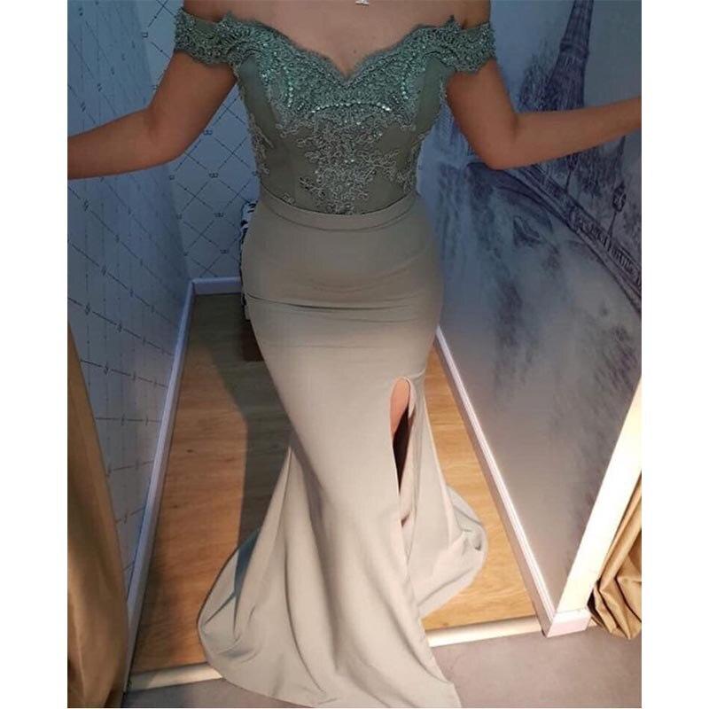 2019 sirène élégante robes de soirée dos nu robe de soirée Champagne robe avec ivoire Appliques robe de soirée longue robe formelle