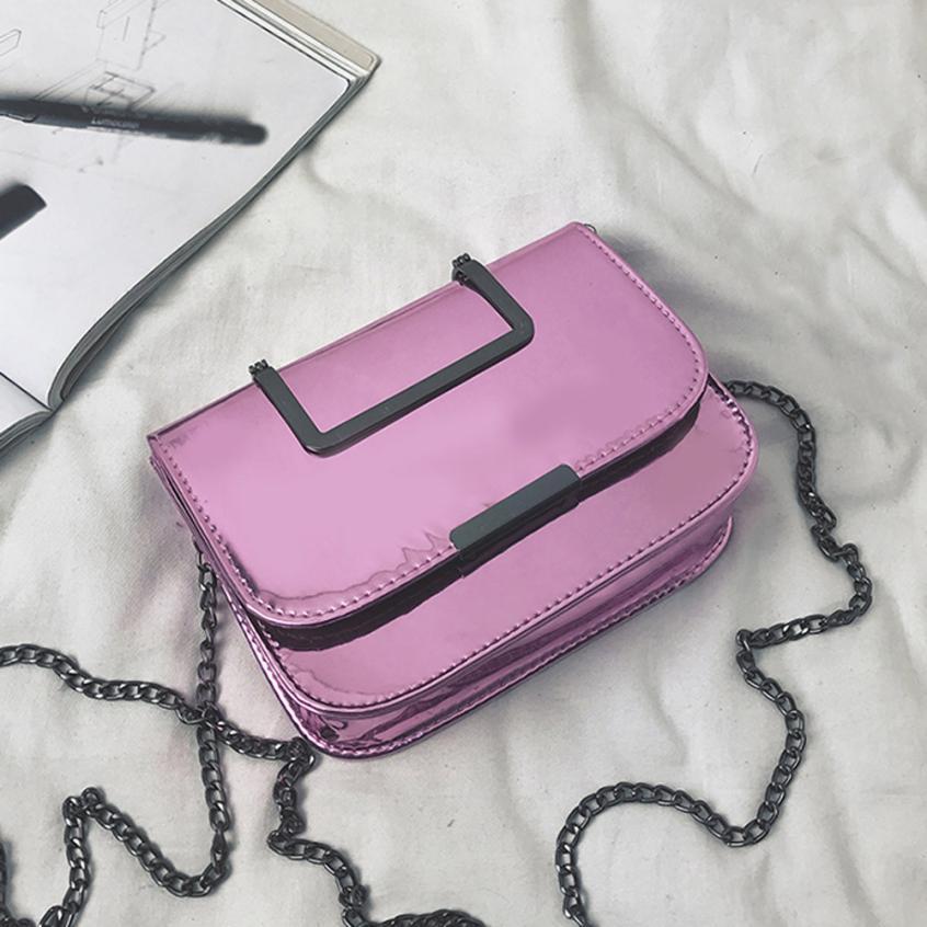 Для женщин Мода Искусственная кожа из лакированной кожи сумка через плечо сумка женская сплошной цвет пряжки небольшой площади сумка # W