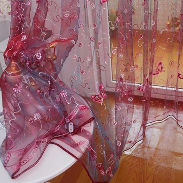 Elegante Bella Farfalla di Paillettes Ricamato Schermi Garza Francese Romantico Classico Del Tutto-Fiammifero Curatin Per Soggiorno AP344-20
