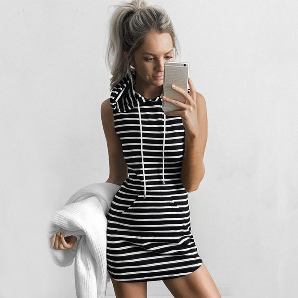 Summer Sexy Women Boho Hooded Pockets Dress Bodycon Sleeveless Striped Solid Sexy Party Cocktail Mini Tank Dress Fashion