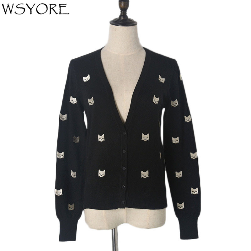 WSYORE Pull Femme Sweater Cardigans Women 2018 New Spring and Autumn Casual Embroidery Cats V-neck Long Sleeve Coat NS405