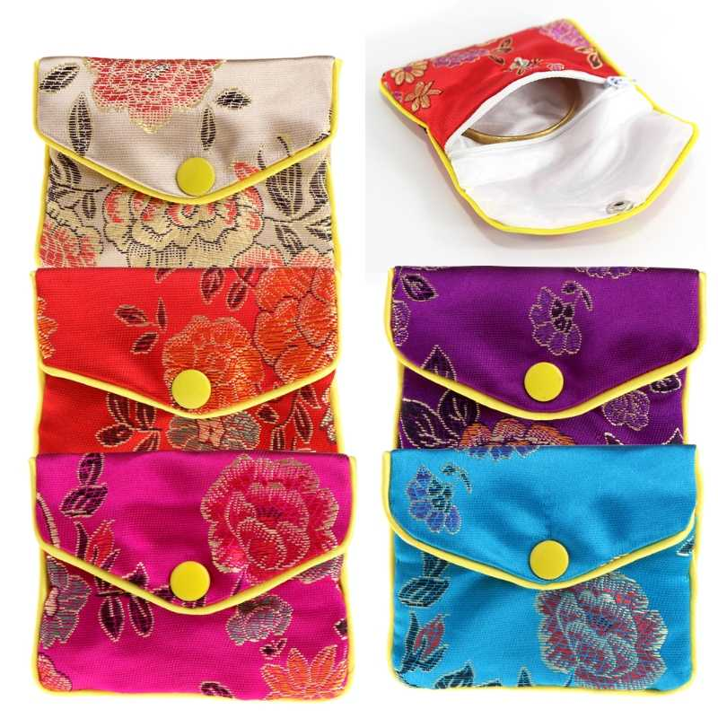JAVRICK Jewelry Storage Bags Silk Chinese Tradition Pouch Purse Gifts Jewels Organizer