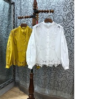 High Quality Cotton Blouse 2019 Spring Fashion Shirt Women Stand Neck Hollow Out Embroidery Long Sleeve Plus Size Shirt Yellow