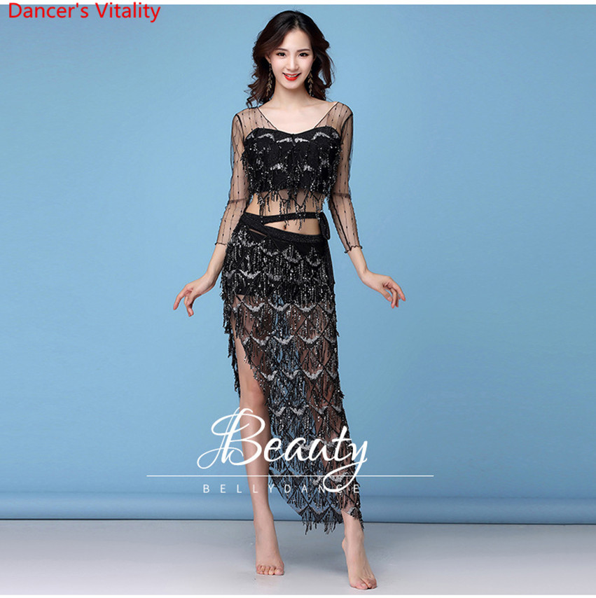 New Fashion Women's Clothing Belly Dance Elastic Sequin Mesh Sparkling Over-Skirt Fringed Scarf Hip Costume Set 2pcs Top & Belt