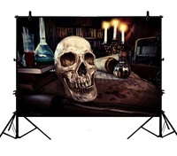 5x7ft Halloween Brown Dark Room Skeleton Candles Blood Polyester Photo Background Portrait Backdrop