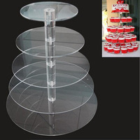 Acrylic Cake Stand Round Cup Cupcake Holder 3 4 5 6 Tiers Dessert Display Stand Wedding