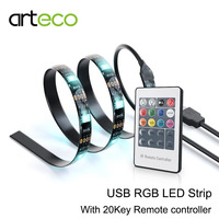 DC5V USB LED Strip RGB 5050 30LEDs 1M IP65 With 20KEY RGB Controller TV Background Lighting