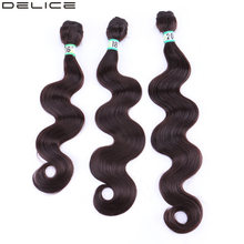 Delice Body Wave Hair Weaving 16-20inch 3 Bundles Dark Brown Gray Weft Women's Heat Resistance Synthetic Hair Extensions(China)