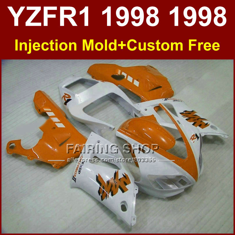 WR44 Pure white orange red fairings kit for YAMAHA YZF R1 YZF1000 98 99 R1 Injection motorcycle fairings 1998 1999 YZF R1