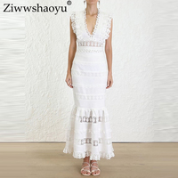Ziwwshaoyu Water soluble Floral Set V Neck Tank Blouse + Empire Long skirt Hollow Out Sets 2019 spring and summer new women